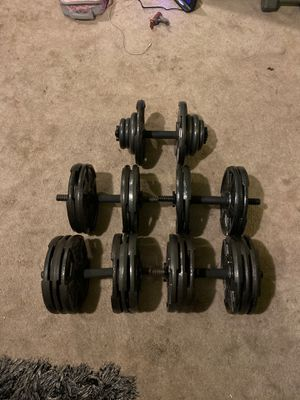 10lbs weight plates. In dumbbells Pair of 60s. Pair of 40s. And single 50. for Sale in Imperial Beach, CA