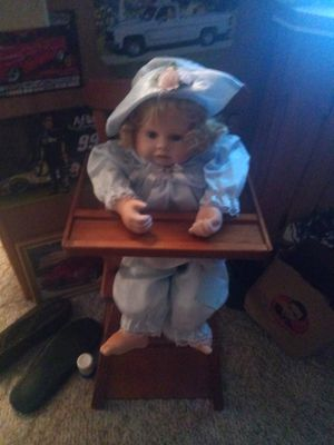 Pourcline doll and antique high chair for Sale in Winter Garden, FL
