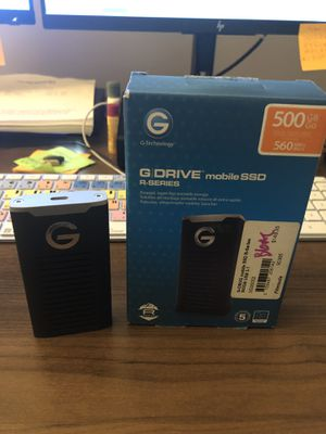 G-Technology 500GB G-DRIVE mobile SSD Durable Portable External Storage - USB-C (USB 3.1 Gen 2) - 0G06052 for Sale in Pasadena, CA