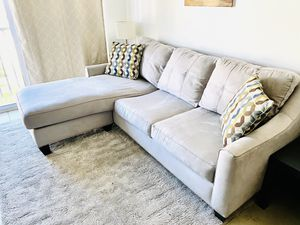 Platinum Microfiber 2 Pc Sectional Couch (Original Value $1300) for Sale in Miami, FL