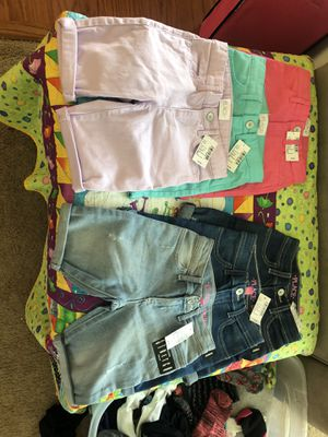 Girls - size 6 slim brand new shorts- denim purple pink seafrost - my daughter can't fit them - had a growth spurt. Six pairs $55 for Sale in College Park, GA