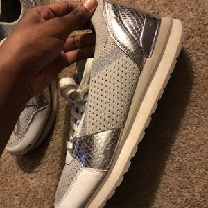 Michael Kors Silver & White Sneakers (Size 8) for Sale in Mebane, NC