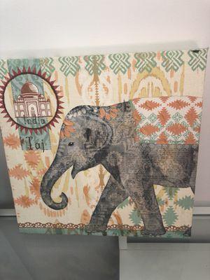 India Taj- Elephant Canvas Wall Decor for Sale in Chicago, IL