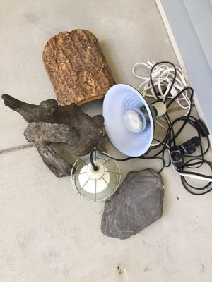 Reptile snake or lizard heating rock lamp and branch for Sale in Bluffton, SC