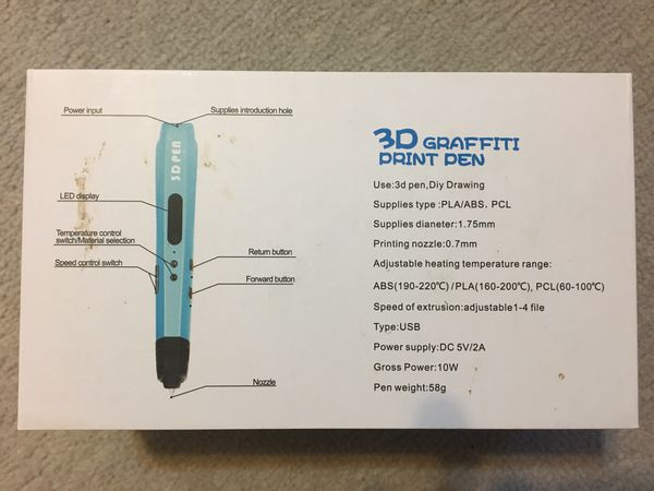 Uvital 3D Graffiti Print Drawing Pen (Black)