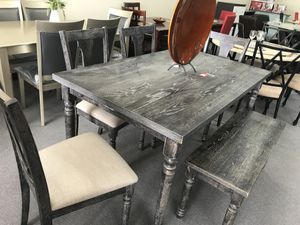 ON SALE! Gray Dining Table With Benches Brand New #824 for Sale in Columbus, OH