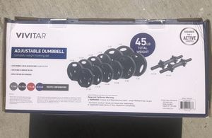 NEW - Vivitar Adjustable Dumbell Set 45lbs Total Weight Gym Workout for Sale in Chula Vista, CA