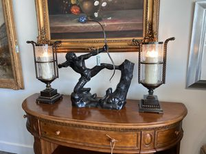 """21"""" Electric Brass Hurricane Lamp W Bubble Glass Pair Of Lamps Excellent Condition Interior Design for Sale in West Palm Beach, FL"""