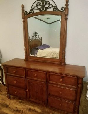 Cherrywood and Iron Bed, Dresser w/ Large Beveled Mirror and Small Bedside Dresser Drawers for Sale in Rowlett, TX