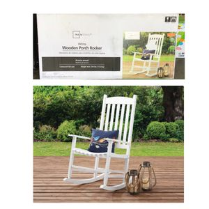 Mainstays Outdoor Wood Slat Rocking Chair, White for Sale in Stafford, TX