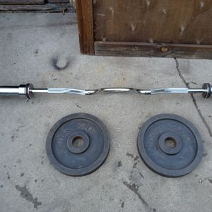NEW. SUPER CURL BAR OLIMPIC & WEIGHT . for Sale in Artesia, CA