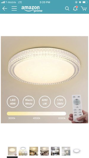 40W Dimmable LED Fixture Lamp Ceiling Light with Remote 15.4 Inch 3000-6000k Slim Shade for Bedroom, Kitchen, Living room, Balcony, Stairways for Sale in Oakland, CA