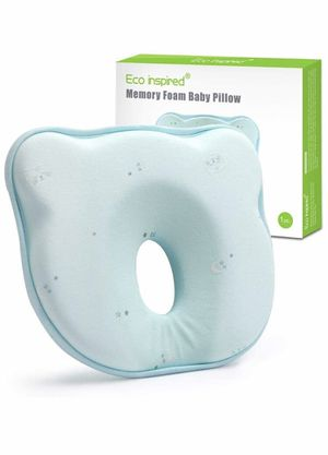 Eco inspired Baby Pillow for Newborn Baby Head Shaping Pillow for Flat Head Prevention Memory Foam Pillows for Sleeping and Neck Support (0-12 Months for Sale in El Monte, CA