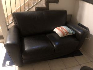 Dark Brown Leather Loveseat and Ottoman for Sale in Los Angeles, CA