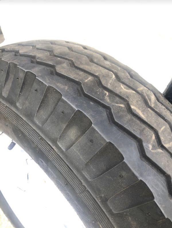 """""""One"""" ST205/75D14 Trailer Tire w/ 14""""White Spoke Wheel"""