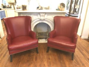 Red pleather wingback chairs for Sale in Feasterville-Trevose, PA
