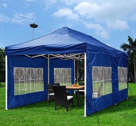 New in box $210 Heavy-Duty 10x20 Ft Outdoor Ez Pop Up Party Tent Patio Canopy w/Bag & 6 Sidewalls, Blue for Sale in Whittier,  CA