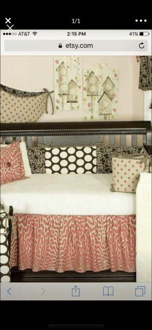 Baby Girl Crib Bedding set - coral, beige, polka dot, animal print for Sale in Dupo, IL