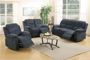 3pc Blue Grey Suede Recliner Set for Sale in Las Vegas, NV