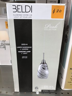 BELDI Peak Collection 1-Light Grey Glass and Nickel Pendant for Sale in Los Angeles, CA