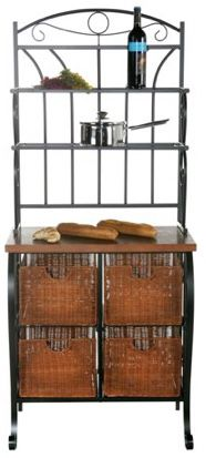 New!! Iron/Wicker Baker's Rack, kitchen storage, baking shelf, storage baskets for Sale in Phoenix, AZ
