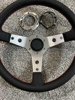 """350MM 3"""" DEEP DISH 6-BOLT SILVER RACING STEERING WHEEL RED STITCHING + HORN BUTTON for Sale in Winter Park,  FL"""