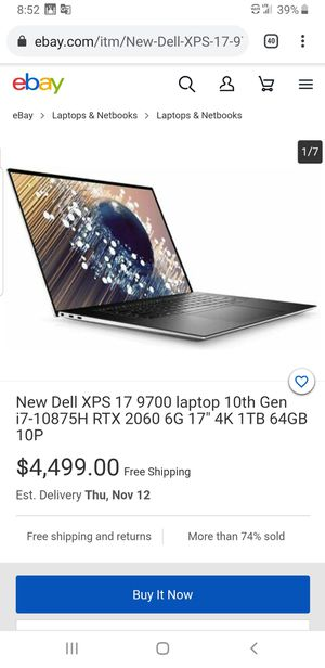 "New Dell XPS 17 9700 laptop 10th Gen i7-10875H RTX 2060 6G 17"" 4K 1TB 64GB 10P for Sale in Dearborn, MI"