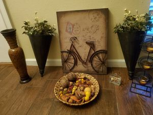 Fall Home Decor ; wall art, vase, candle holder, potpourri, for Sale in Keller, TX