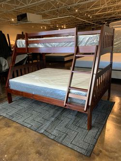 Twin Over Full Espresso Bunk Bed & Brand New Plush Mattress Free Delivery for Sale in Dallas,  TX
