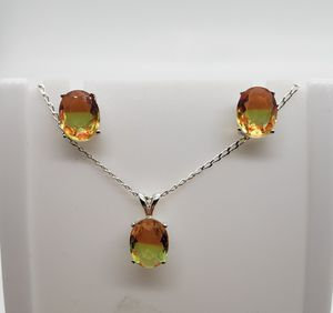 Bi-colored Tourmaline Sterling Silver Earring/Necklace Set for Sale in Haslet, TX
