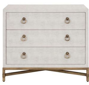 3-Drawer White Faux Shagreen Brushed Gold Dresser for Sale in Plainview, NY