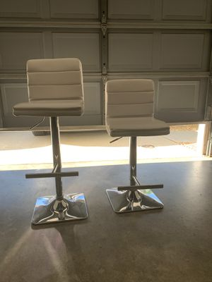 Two white adjustable height bar stools with chrome base for Sale in San Diego, CA