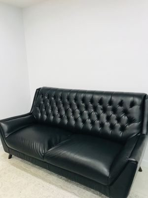 Mint condition modern black leather 3 person sofa for Sale in Nicholasville, KY