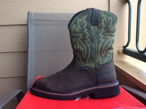 NEW MEN'S WOLVERINE WELLINGTON RANCHER SQUARE/STEEL TOE WATERPROOF LEATHER WORK BOOTS Sz 10 for Sale in Lewisville, TX