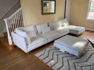 IKEA white fabric sectional couch with ottoman and pillows for Sale in Silver Spring, MD