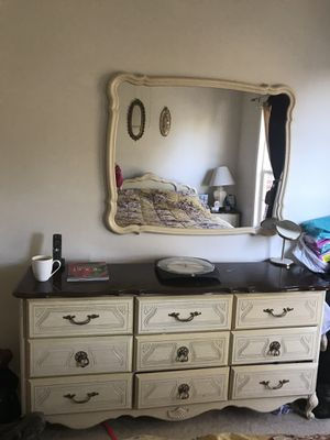 Mirror and dresser- ivory & brown $500 for Sale in Ashburn, VA