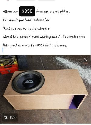 "15"" sub in custom box 4500 watts for Sale in Allentown, PA"