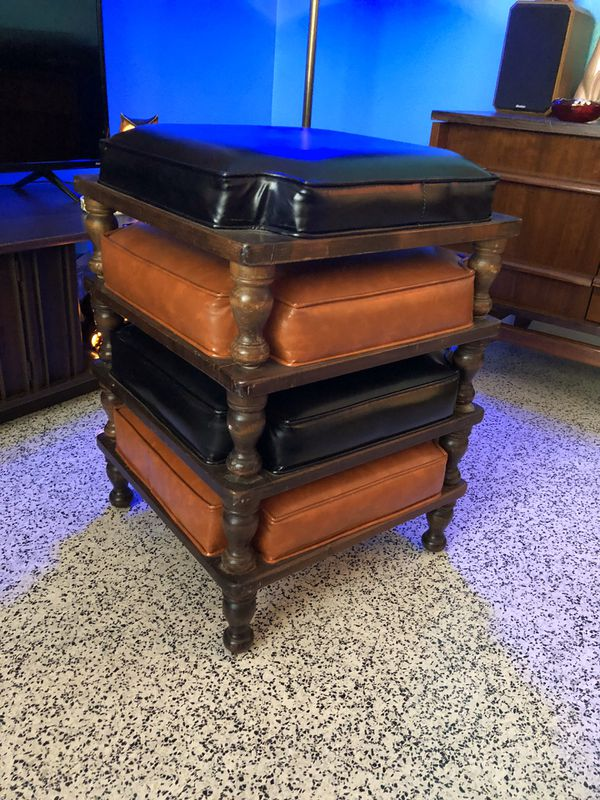 Vintage 60'-70' s Set Of 4 StackableWood Stools With Vinyl Cushions.