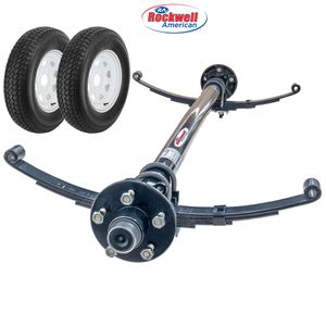 Trailer axle - 3500 gvw with springs and hubs. Includes tires - single axle trailer axle with tires - We carry all trailer parts - trailer tires for Sale in Plant City, FL