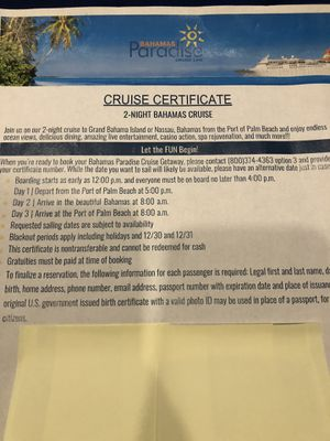 Free Bahamas Cruise For 2 for Sale in Southwest Ranches, FL