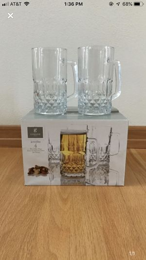 4 clear cut glass mugs - NEW for Sale in Appleton, WI