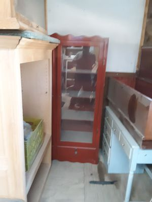 Cherry wood gun cabinet antique desk china cabinet and a shelf cabinet for Sale in Palmdale, CA