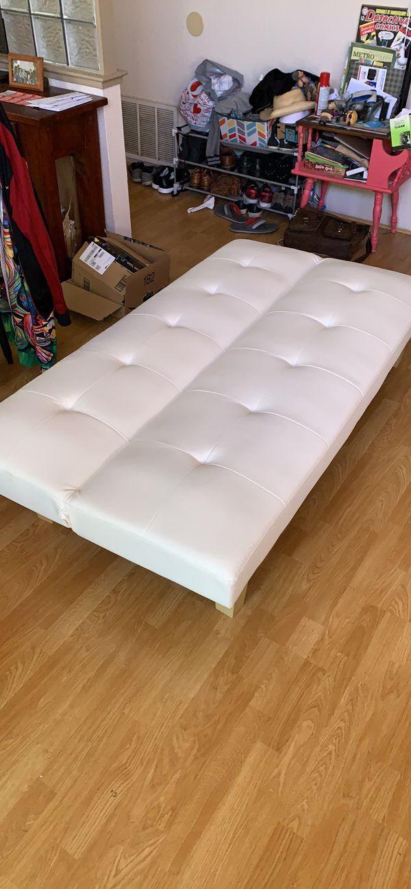 White leather futon (twin size)