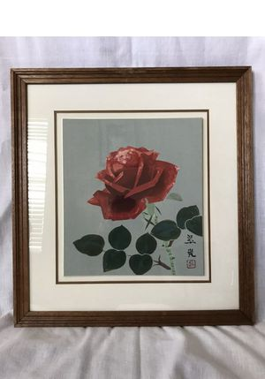 Original Japanese Woodblock Red Rose Print by Ukiyo-e Framed Signed Stamped for Sale in Carmichael, CA