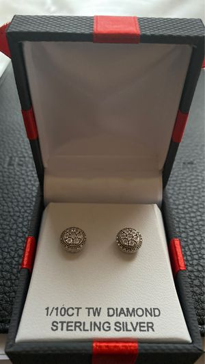 1/10 CT Diamond Sterling Silver Earrings for Sale in Fort Worth, TX