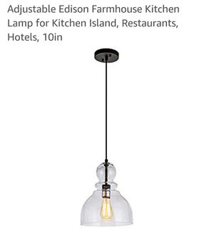 Pendant Light with Clear Seeded Glass Shade. 10in for Sale in Pico Rivera, CA