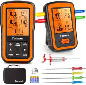 Wireless Digital Meat Thermometer with 4 Probes & Meat Injector, Upgraded 500FT Remote Range Cooking Food Thermometer for Grilling & BBQ & Oven & Kit for Sale in Pomona, CA