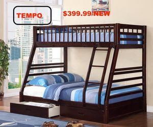 Twin over Full Bunk Bed Frame with 2 Drawers, Espresso for Sale in Fountain Valley, CA