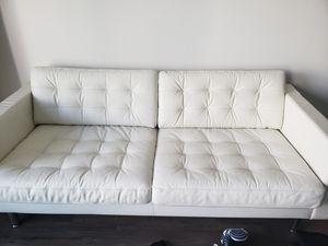 Leather couch full grain white for Sale in Fairfax, VA