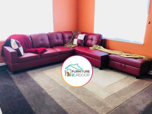 New Red Bonded Leather 3pc Sofa Sectional Couch & Ottoman - Financing Available for Sale in Riverside, CA